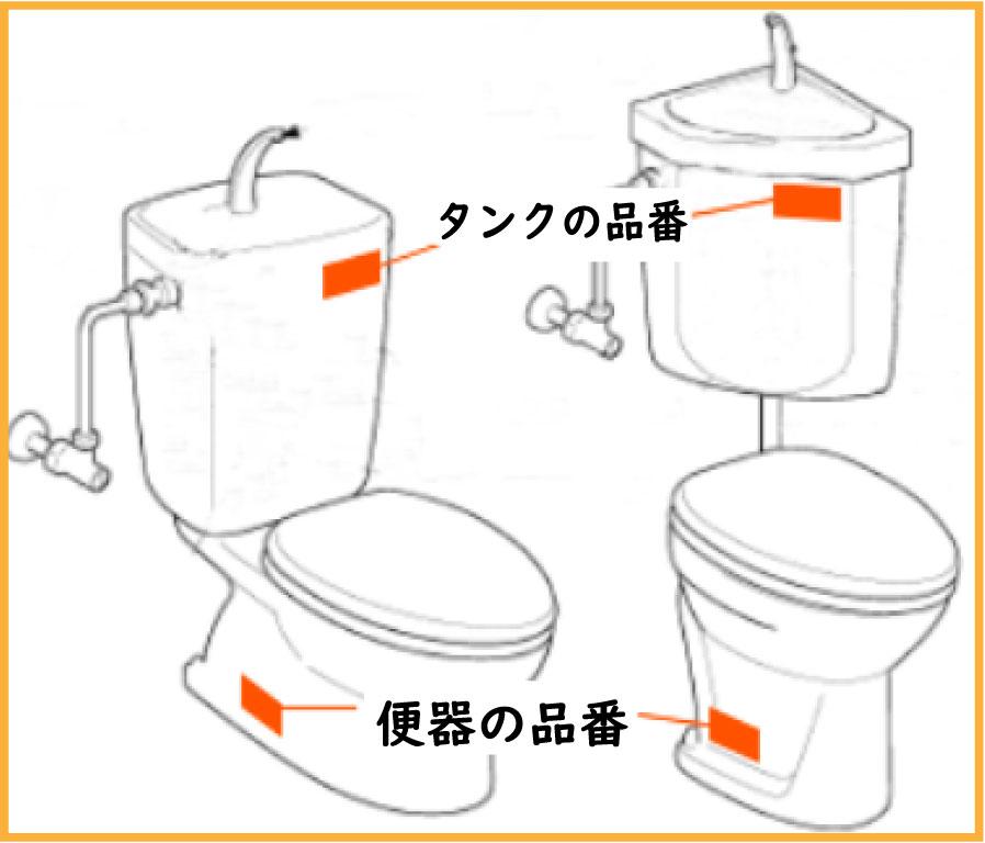 d【タンクの品番・便器の品番】タンクの品番は正面に、便器の品番は側面に記載されている場合が多いです。