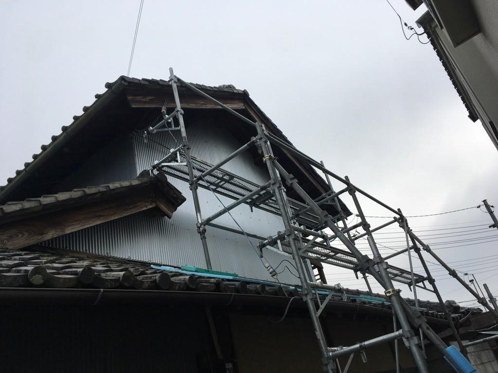 台風被害 外壁補修工事